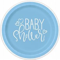 "Blue Hearts Baby Shower 9"" Paper Plates (8)"